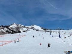 午前中はスキー、午後はスノーボード。 ナイターまで滑りたかったが、重い雪に疲れて・・・ 早め撤収になりました。